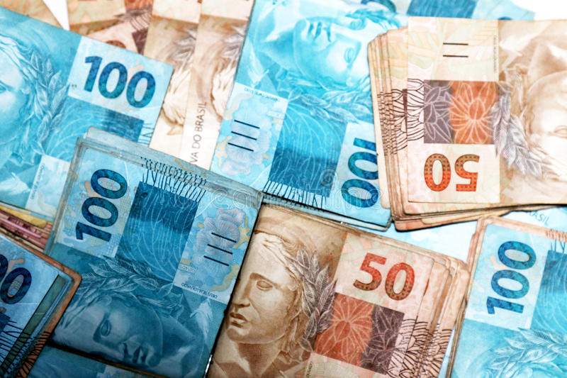 Notes of 50 and 100 reais from Brazil royalty free stock photo