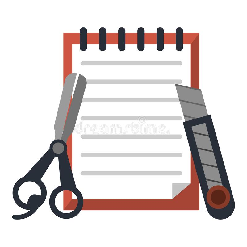 Notes with scissors and scalpel. Vector illustration graphic design stock illustration