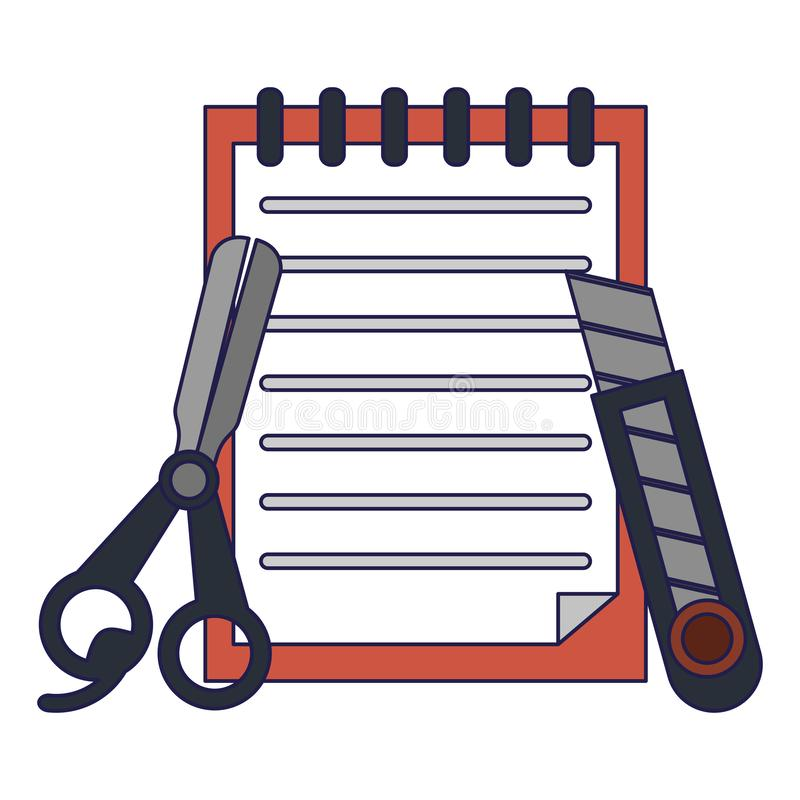 Notes with scissors and scalpel. Vector illustration graphic design royalty free illustration