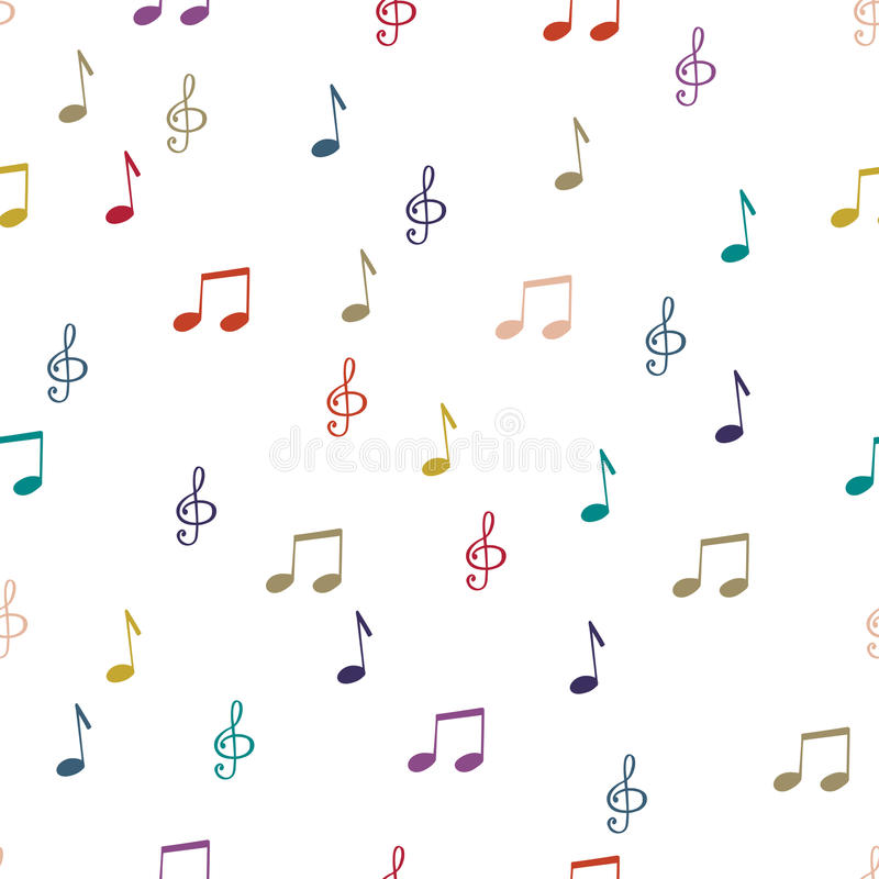 Notes. Seamless pattern background notes. Music notes, treble clef vector stock illustration