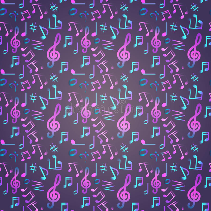 Notes Seamless Pattern Music Banner Colorful Modern Musical Poster. Flat Vector Illustration stock illustration