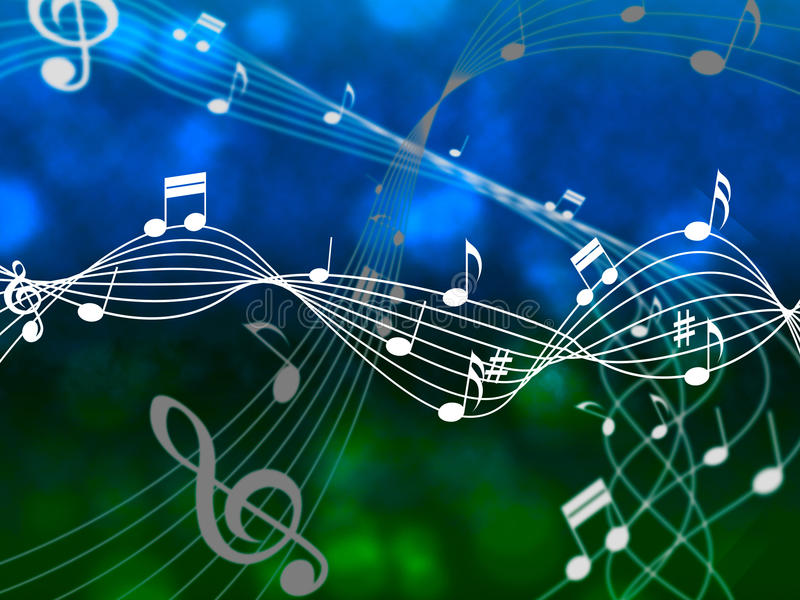 Notes Sky Means Sheet Music And Abstract vector illustration