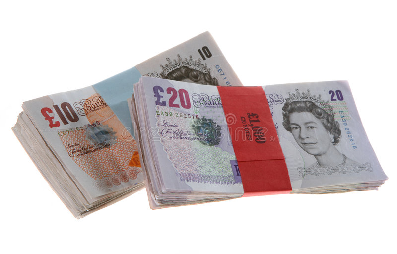 GB Banknotes Pound Sterling Bundle Wads royalty free stock photo
