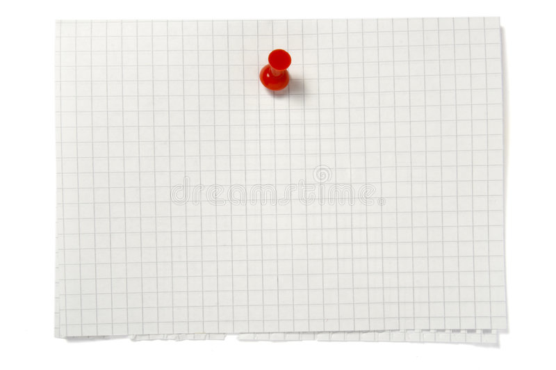 Notes with stains. Close up of reminder with push pin on white background with clipping path stock image
