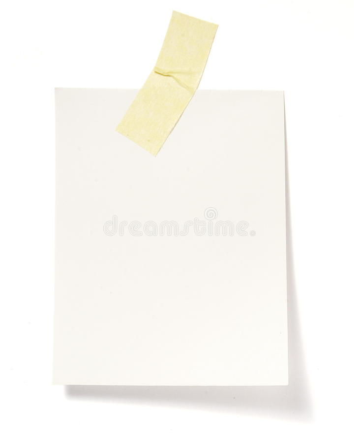 Notes with tape. Close up of post it reminders on white background with clipping path royalty free stock photography