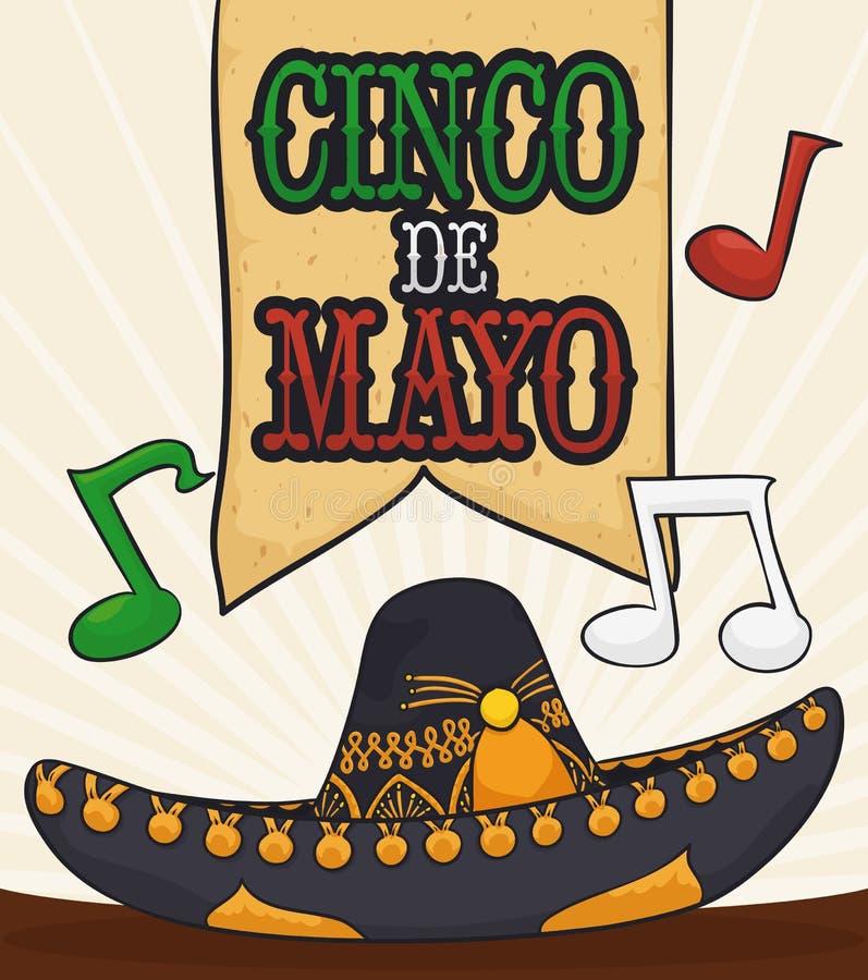 Notes traditionnelles de chapeau et de musique de mariachi pour Cinco de Mayo, illustration de vecteur illustration libre de droits