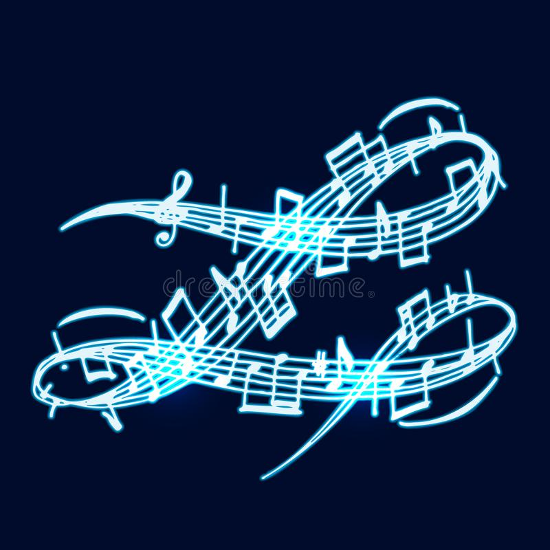 Free Notes Vector Music Neon Melody Colorfull Musician Symbols Sound Melody Text Writting Audio Symphony Illustration Stock Photos - 114896783