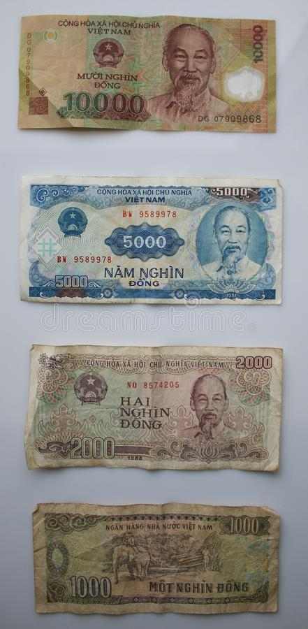 1000, 2000, 5000 and 10000 Notes from vietnam separated with a white background. Above eachtother royalty free stock photo