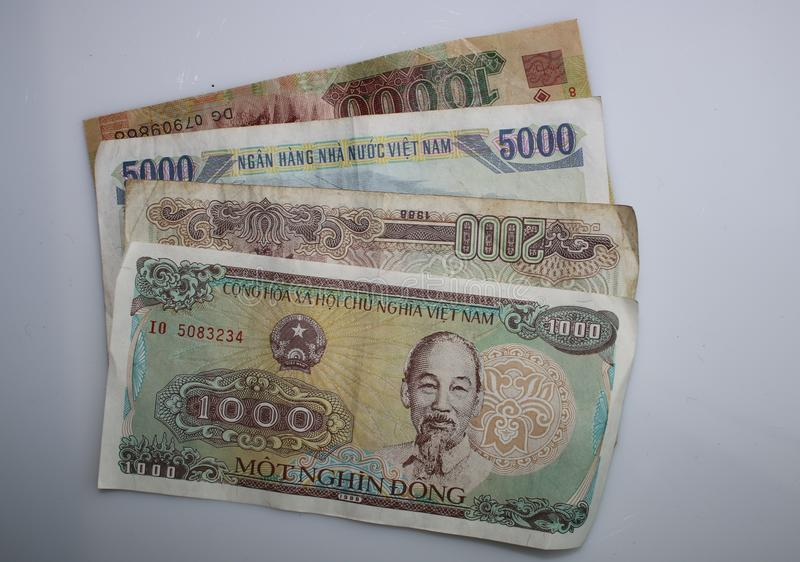 1000, 2000, 5000 and 10000 Notes from vietnam on a white background. On top of eachother stock photo