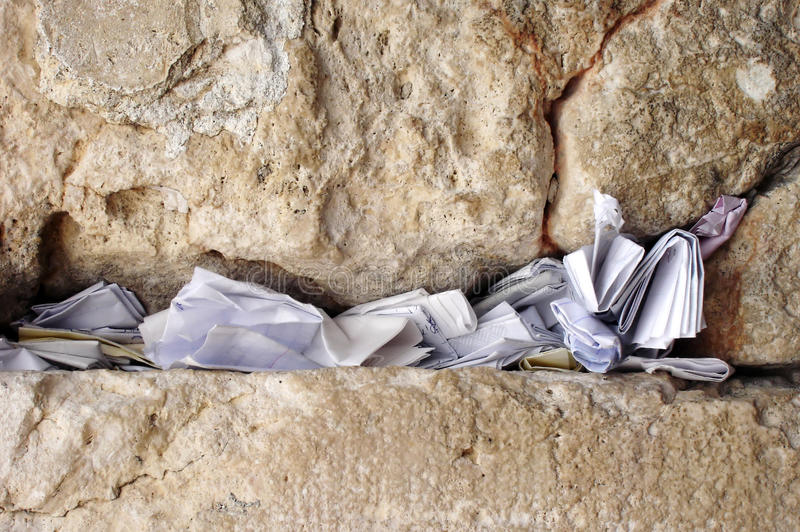 Notes in the wailing wall Israel. Notes to God in the Western Wall in Jerusalem, Israel stock photography