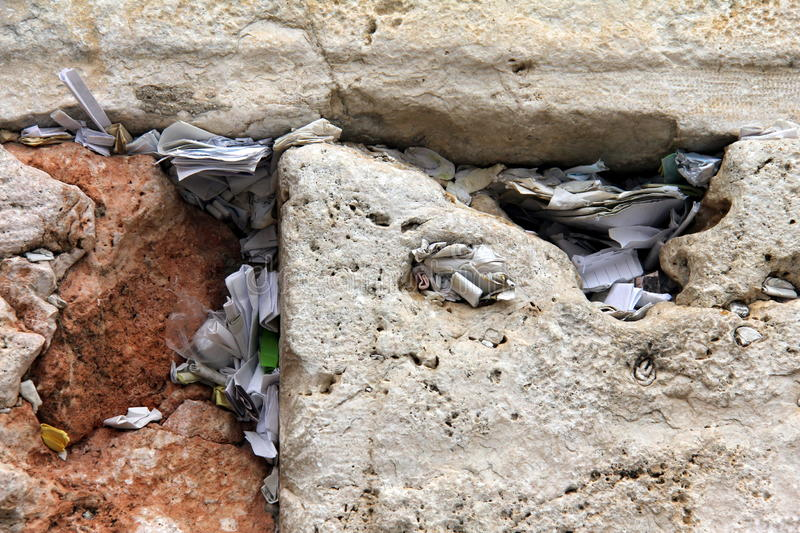 Notes In The Wailing Wall Israel Royalty Free Stock Image
