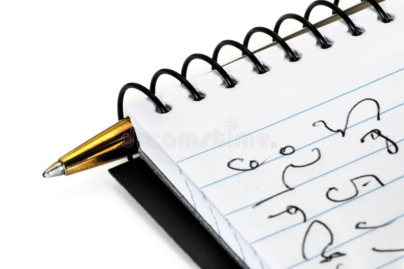 Notes z funkcją Shorthand i Pen over White obrazy royalty free
