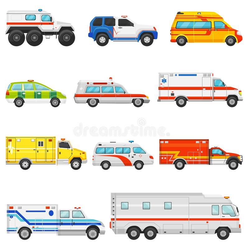 Notfahrzeugvektorkrankenwagentransport- und -service-LKW-Illustrationssatz des cmedical Autos und des Kleinbusses der Rettung ode stock abbildung