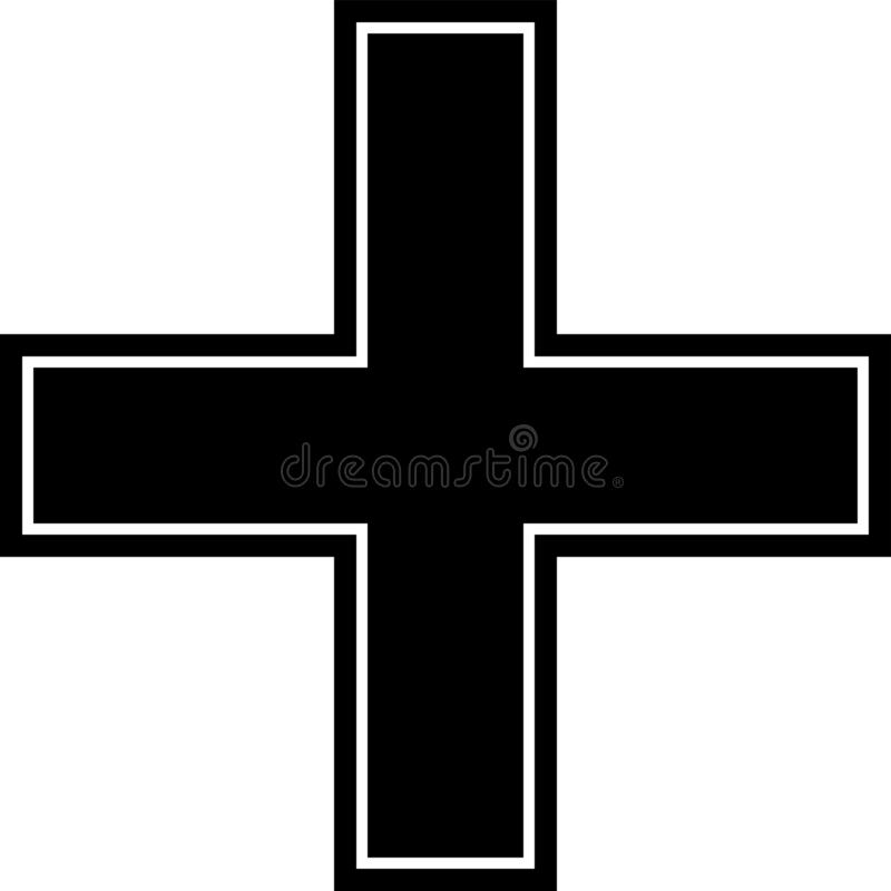 Notfall, Kreuz, Rot, Schwarzes, Rahmen u. frameless Ikone lokalisiert auf wei?em Hintergrund lizenzfreie abbildung