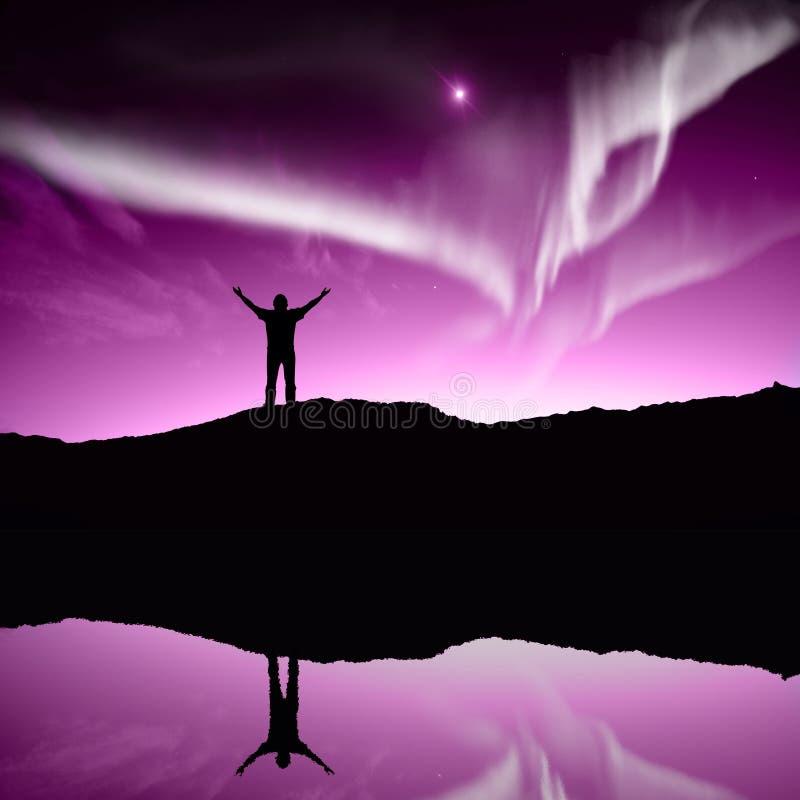 Nothern lights, Aurora. Boraaiis over mountains royalty free stock image