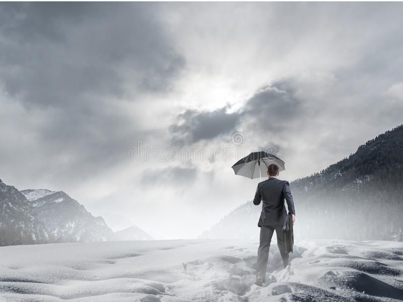 Nothing is gonna stop him. Mixed media royalty free stock image