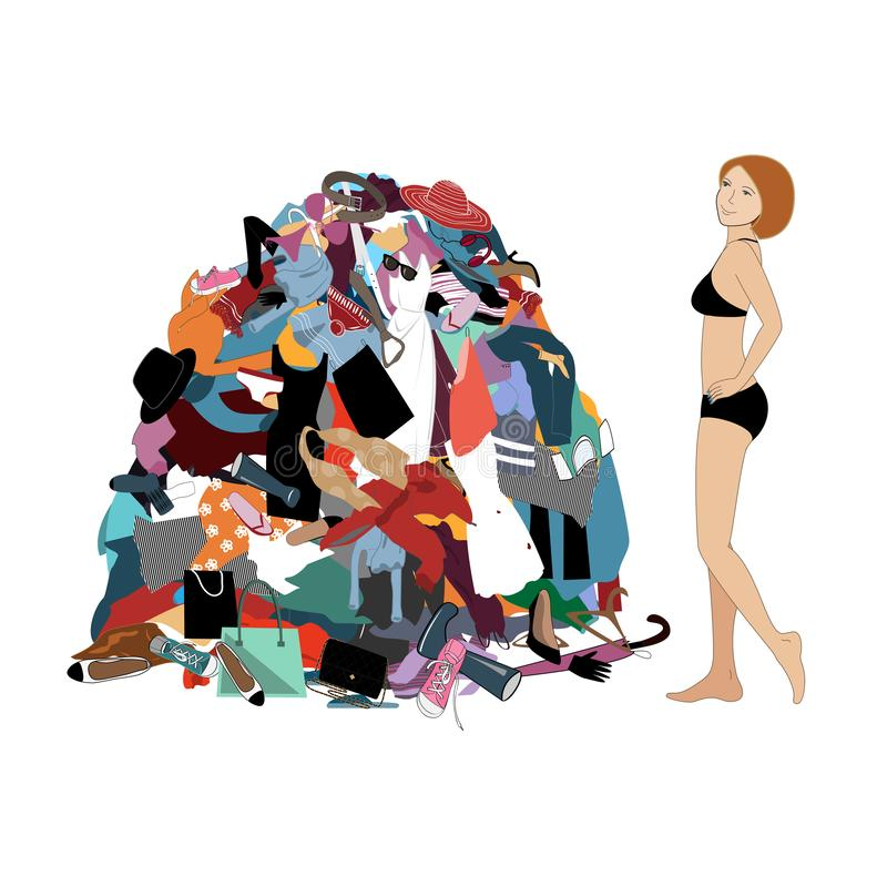Nothing to wear concept, young attractive stressed woman looking at a pile of messy clothes gotten out of closet. Vector vector illustration