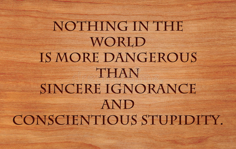 Nothing in the world is more dangerous. Than sincere ignorance and conscientious stupidity - quote by late Martin Luther King Jr. on wooden red oak background royalty free stock photos