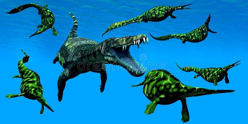 Nothosaurus海军陆战队员爬行动物 皇族释放例证