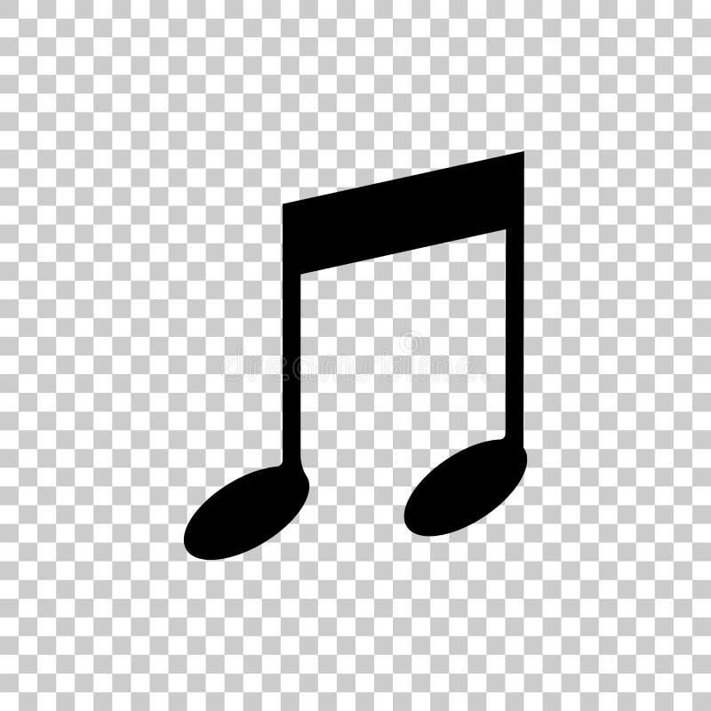 Noti l'icona di vettore Simbolo dell'icona di musica illustrazione di stock