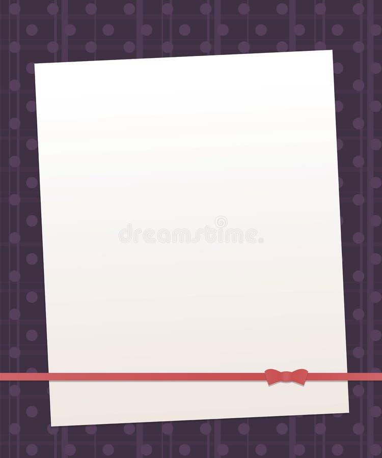 Noti lo strato bianco su un fondo porpora scuro con le bande verticali ed orizzontali e la linea rossa retr della perla dei cerch illustrazione vettoriale