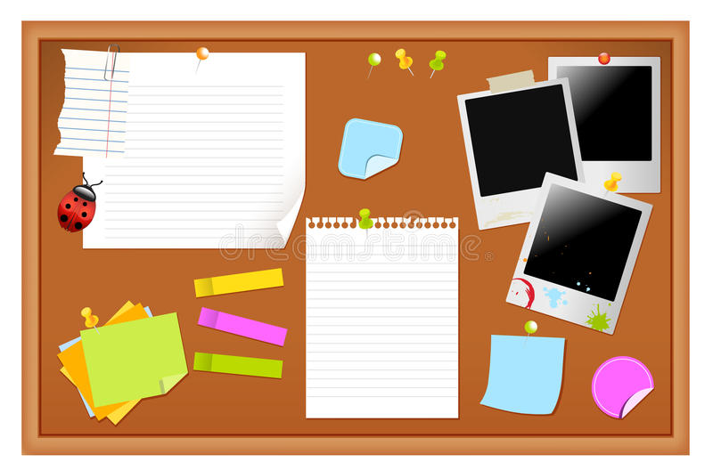 Notice board. Filled with various stationary items vector illustration