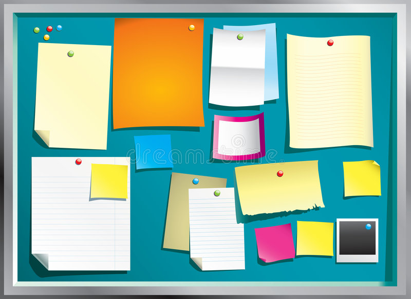 Notice board. Colorful vector notice board with bunch of papers vector illustration