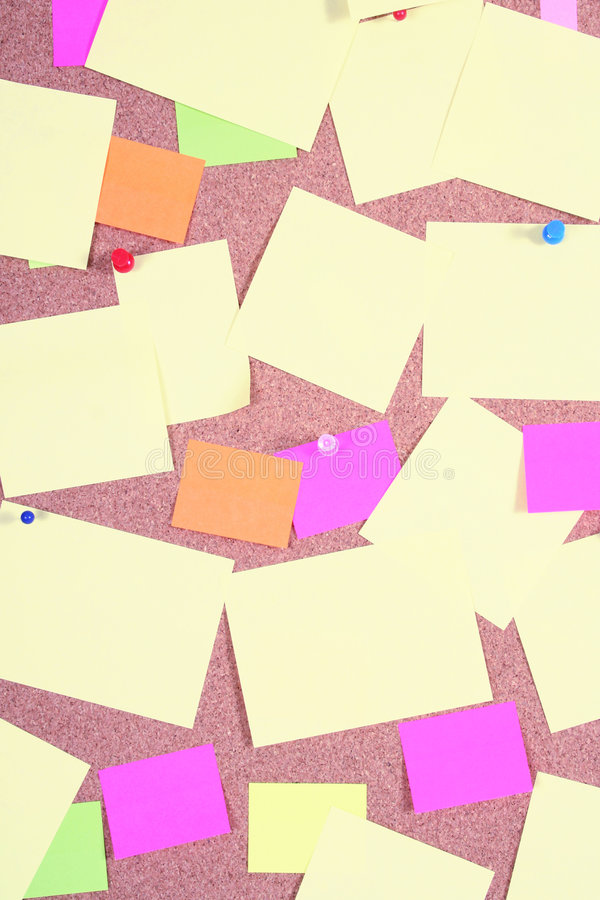 Notice board. With post-it notes and pins royalty free stock image