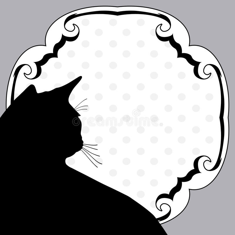 Notice board with cat. Art vintage notice board with silhouette cat vector illustration