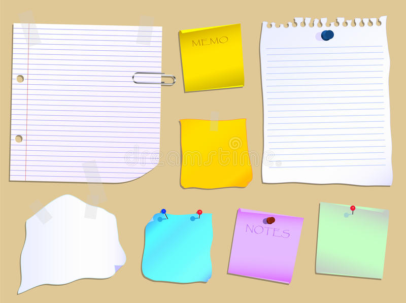 Notice Board. Notes and paper scraps pinned to a notice board stock illustration