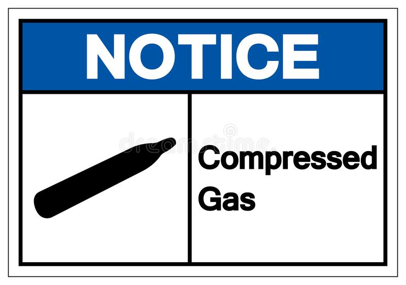 Notice Compressed Gas Symbol Sign, Vector Illustration, Isolate On White Background Label. EPS10. Notice Compressed Gas Symbol Sign, Vector Illustration, Isolate vector illustration