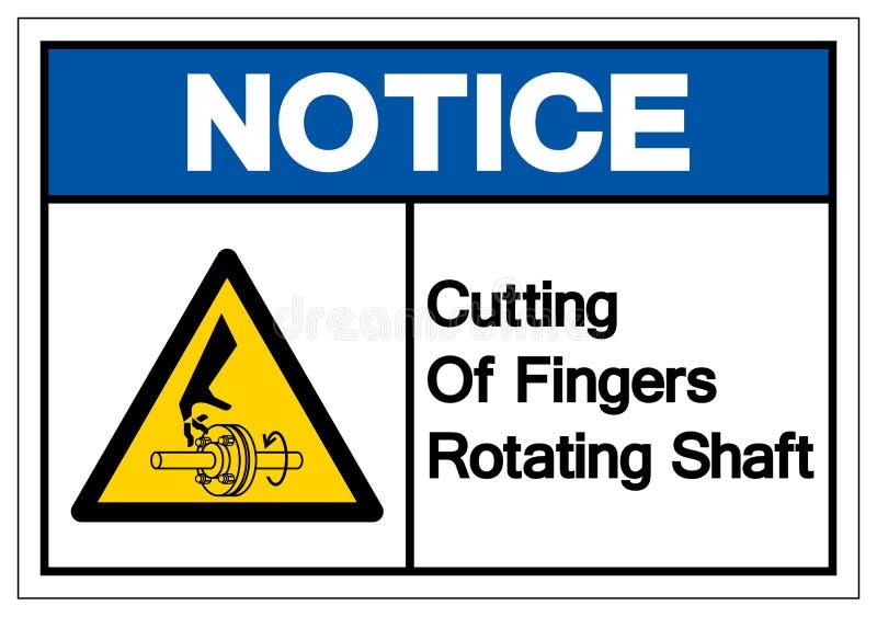 Notice Cutting of Fingers Rotating Shaft Symbol Sign, Vector Illustration, Isolate On White Background Label .EPS10 royalty free illustration