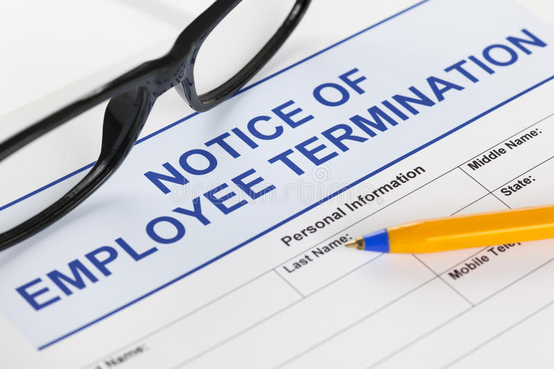 Notice of employee termination royalty free stock photography