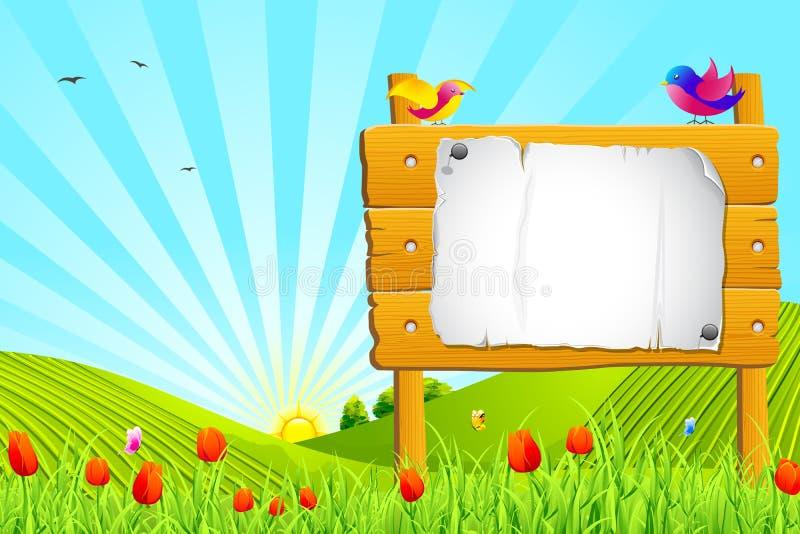 Notice in Garden. Illustration of bird sitting on notice board in garden vector illustration