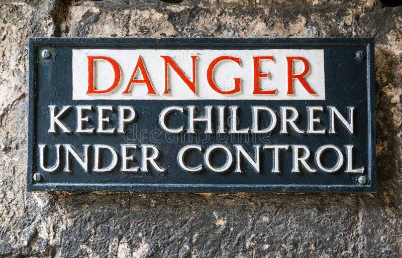Notice for keeping children under control royalty free stock images