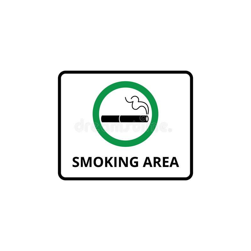 Notice on the signboard smoking area with cigarette on green circle. Isolated vector illustration with sign and icon of cigarette stock illustration