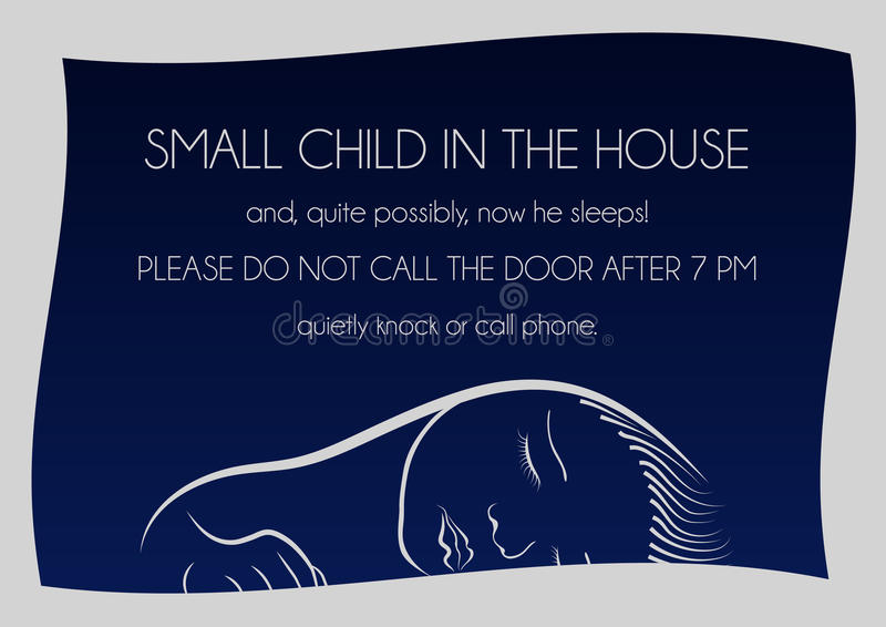 Notice that sleeps small child stock photography