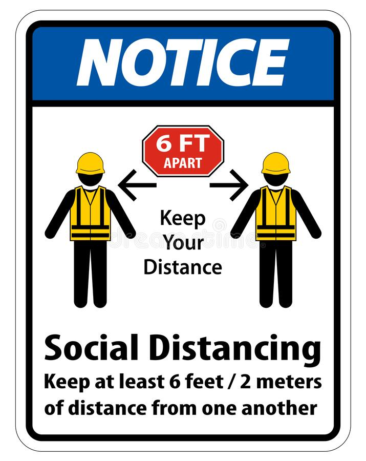 Free Notice Social Distancing Construction Sign Isolate On White Background,Vector Illustration EPS.10 Stock Images - 181833814