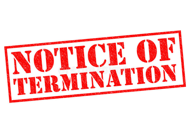 NOTICE OF TERMINATION royalty free stock photos