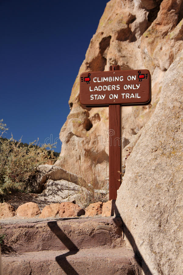 Notice to Hikers. Bandelier National Monument, New Mexico royalty free stock photography