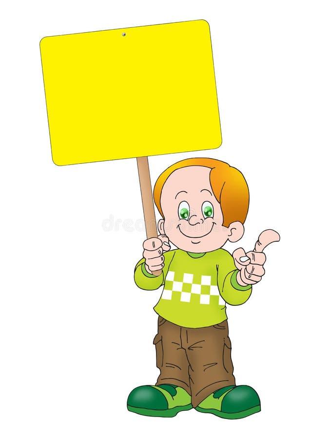 Noticeboard della holding del ragazzo royalty illustrazione gratis