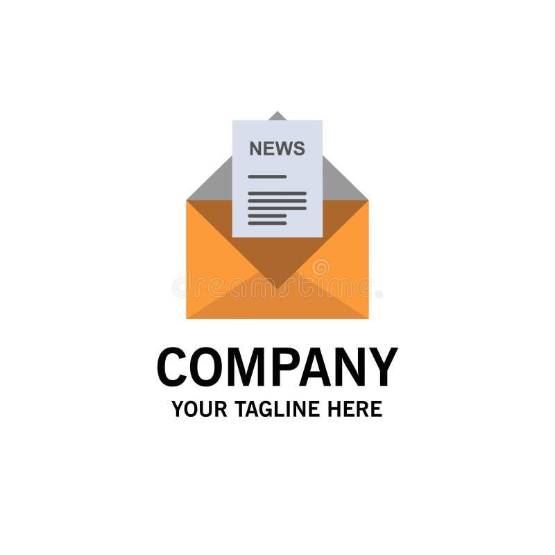 Noticias, correo electrónico, negocio, correspondiendo, negocio Logo Template de la letra color plano stock de ilustración