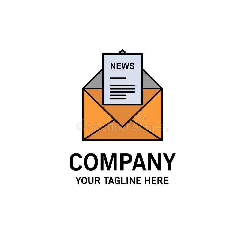 Noticias, correo electrónico, negocio, correspondiendo, negocio Logo Template de la letra color plano libre illustration