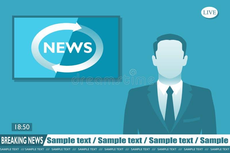 Noticias de última hora del presentador estrella ilustración del vector