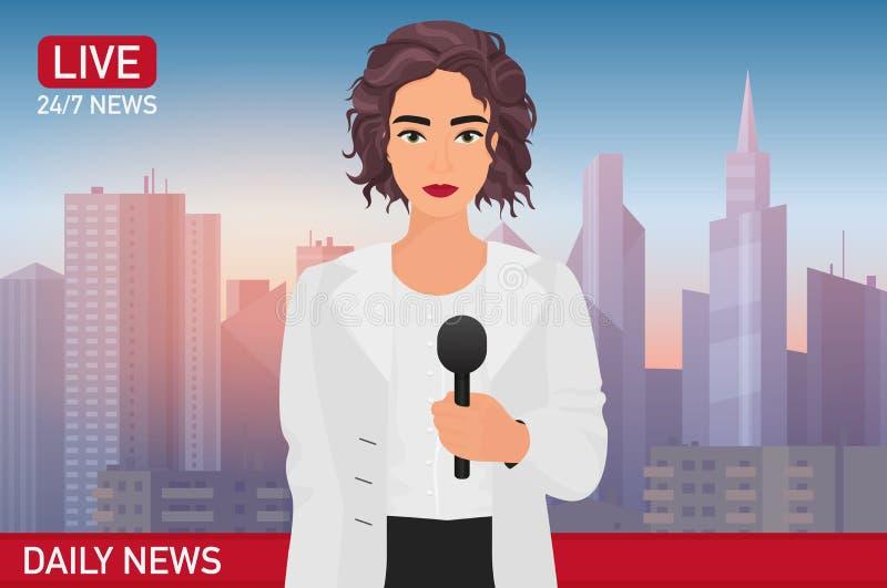 Noticias de última hora hermosas bonitas de los informes de la mujer del presentador de noticias Medios ejemplo del vector del co ilustración del vector