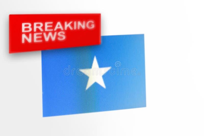Noticias de última hora, la bandera de país somalí y las noticias de la inscripción imagenes de archivo