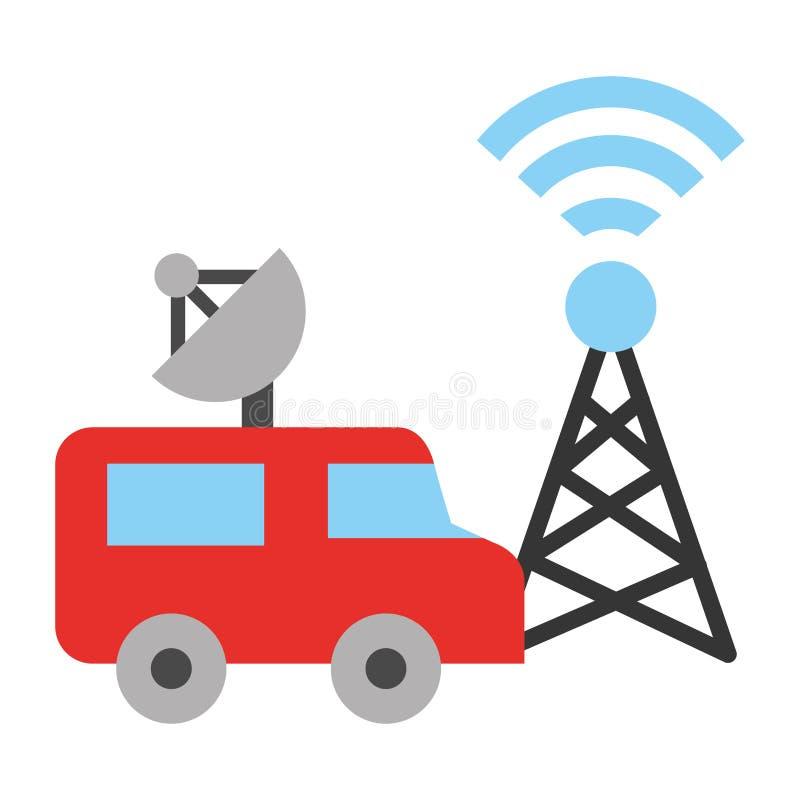 Noticias de última hora de la difusión de la antena del transporte de la furgoneta de la TV stock de ilustración