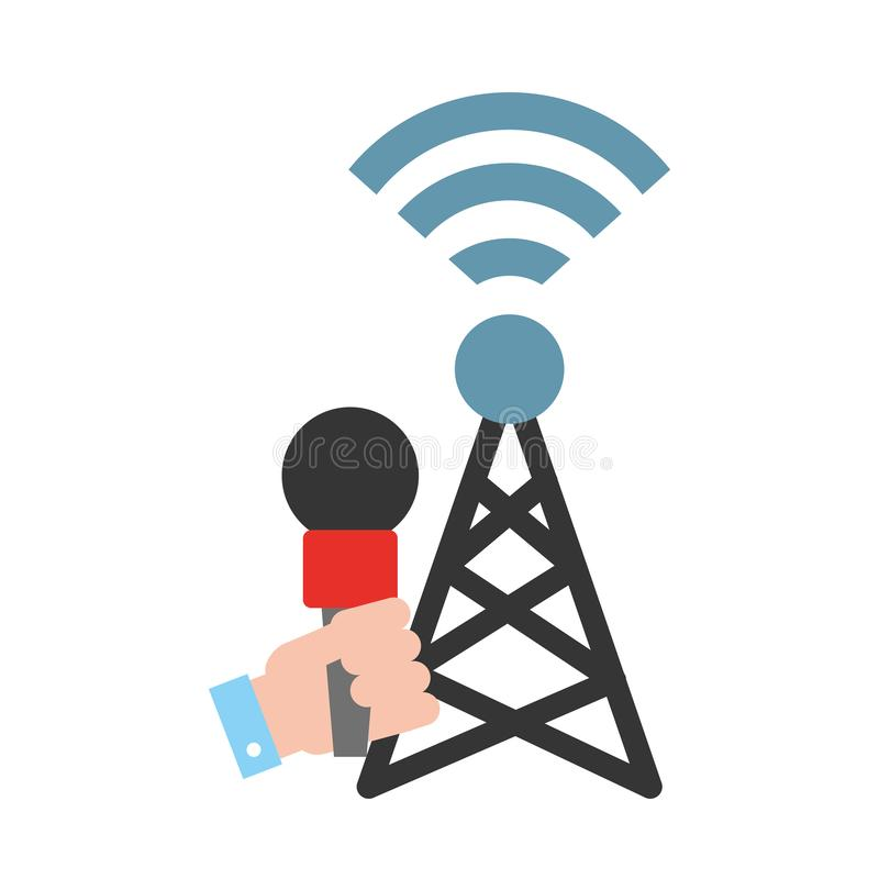 Noticias de última hora de la difusión de la señal de la antena del micrófono de mano libre illustration
