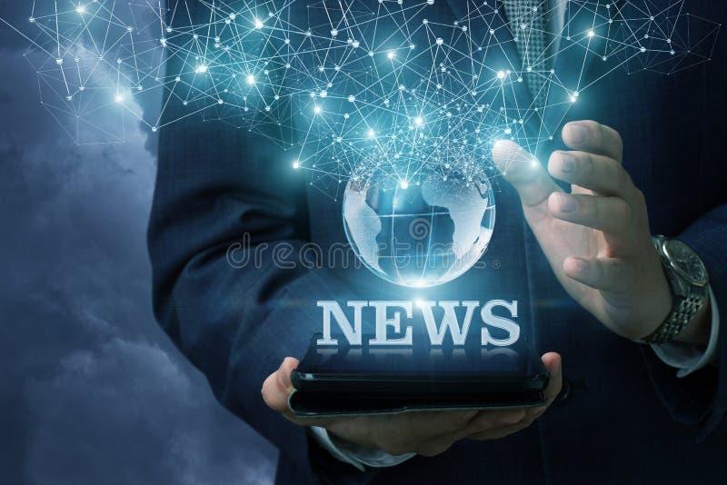 Noticias de Internet como parte integrante del planeta imagen de archivo libre de regalías