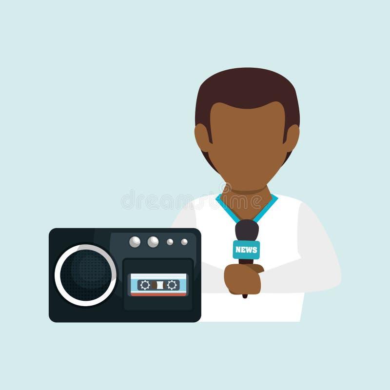 noticias de la grabadora de voz del hombre ilustración del vector